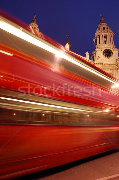 Bulanık kırmızı Londra otobüs gökyüzü Bina Stok fotoğraf © johnnychaos