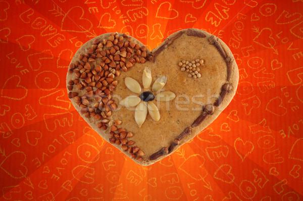 Gebakken decoratief hart brood zaden kruidnagel Stockfoto © johnnychaos