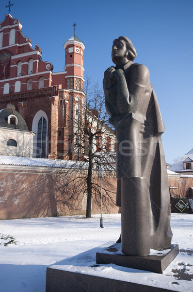 Statue of Adam Mickiewicz, Vilnius, Lithuania Stock photo © johnnychaos