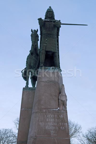 Heykel Vilnius Litvanya ortaçağ katedral kare Stok fotoğraf © johnnychaos