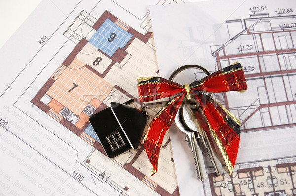 Stockfoto: Sleutels · blauwdruk · home · blauwdrukken · business · papier