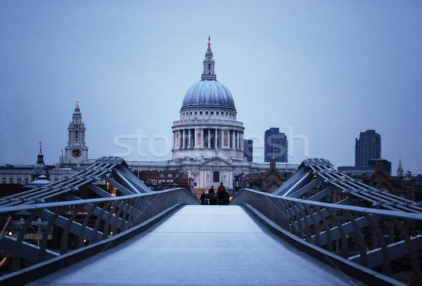 Katedral köprü Londra akşam su ışık Stok fotoğraf © johnnychaos