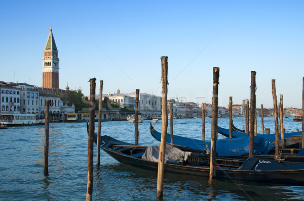 Gondolas and St Mark's Campanile, Venice, Italy Stock photo © johnnychaos