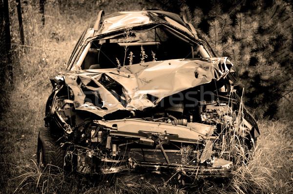 車 破壊 古い さびた 捨てられた ストックフォト © johnnychaos