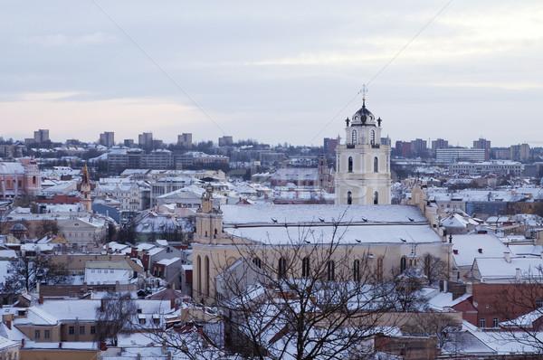 Panoráma Vilnius fa épület város nyár Stock fotó © johnnychaos