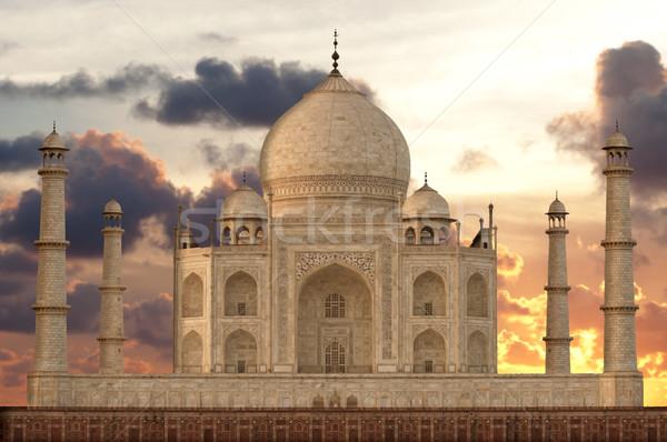 Tramonto Taj Mahal mausoleo acqua amore sole Foto d'archivio © johnnychaos