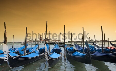 Parked gondolas in Venice, Italy Stock photo © johnnychaos