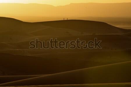 Zonsondergang Marokko sahara woestijn zand hemel Stockfoto © johnnychaos