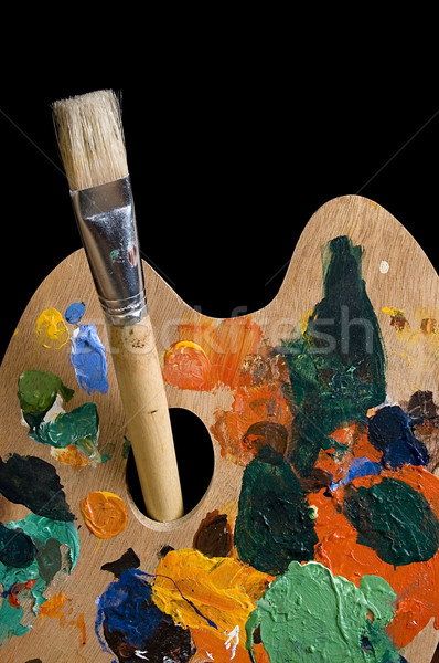 painting: palette and brush Stock photo © johnnychaos