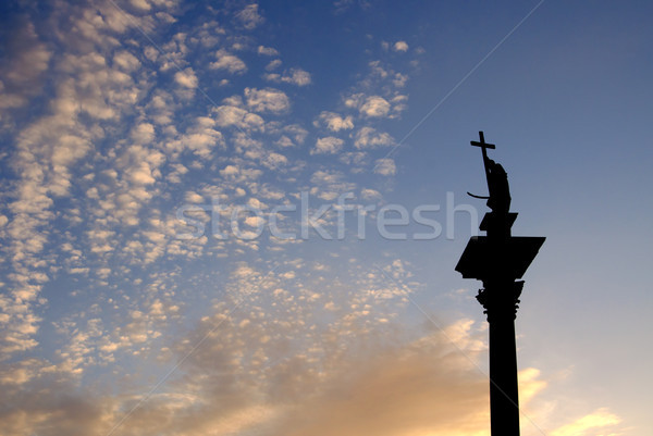column and statue of King Sigismund III Vasa at sunset, Warsaw, Poland Stock photo © johnnychaos