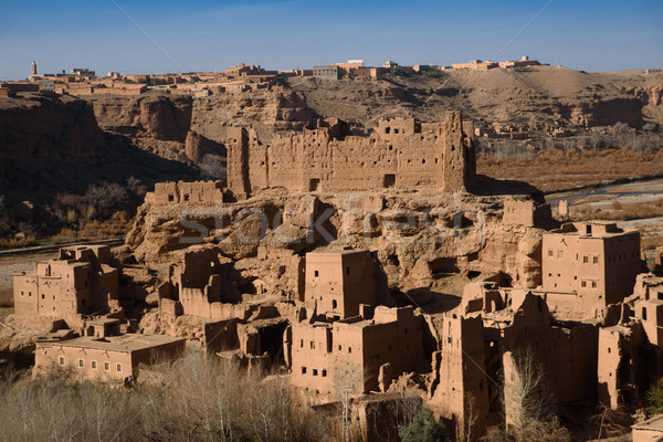 Old kasbah in the Atlas Mountains of Morocco Stock photo © johnnychaos