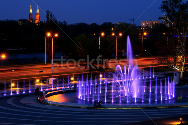 Fontaine nuit Varsovie Pologne repère Photo stock © johnnychaos