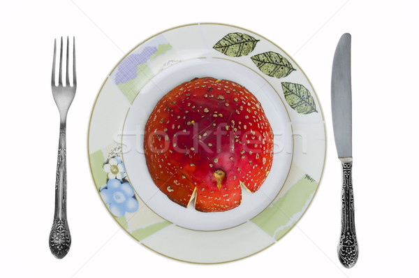 Red toadstool on dish isolated Stock photo © johnnychaos