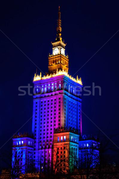 дворец культура науки ночь Варшава Польша Сток-фото © johnnychaos