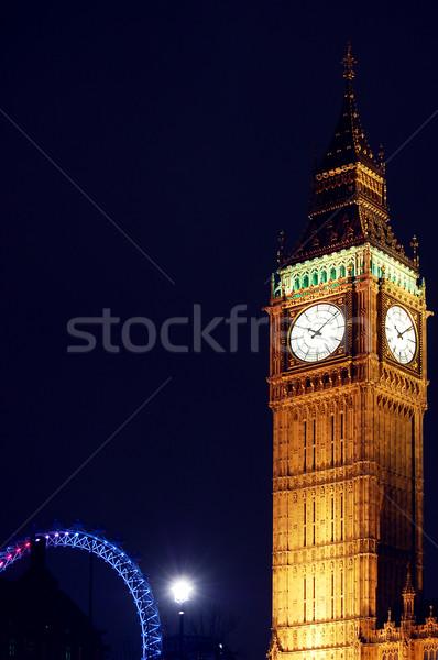 Big Ben éjszaka London szem épület óra Stock fotó © johnnychaos