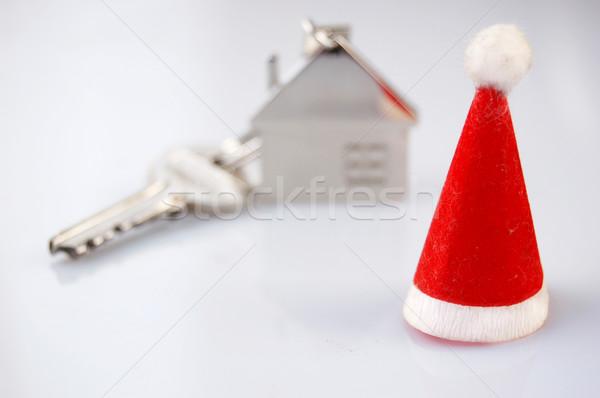 Karácsony ajándék új ház birtok ajándék ház Stock fotó © johnnychaos