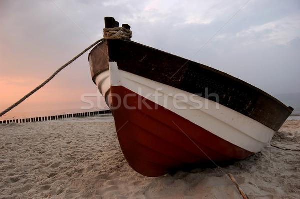 Praia velho praia belo pôr do sol mar báltico Foto stock © johnnychaos