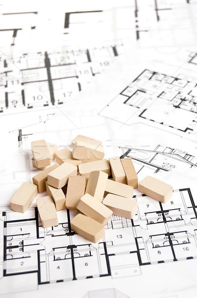 Bricks over blueprint Stock photo © johnnychaos