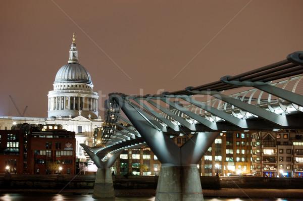 Katedral Londra gece su ışık kilise Stok fotoğraf © johnnychaos