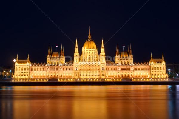 Budapest parlement nuit réflexion danube rivière Photo stock © johny007pan