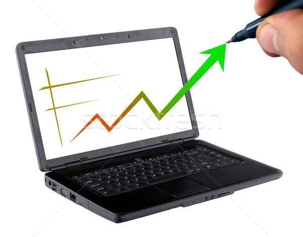 Affaires croissant statistiques portable main stylo Photo stock © johny007pan