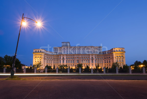 Бухарест парламент здании ночь дворец Румыния Сток-фото © johny007pan