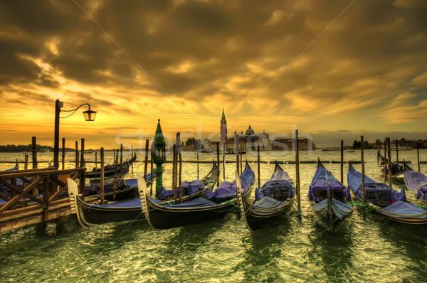 Coucher du soleil Venise dramatique scène Italie eau Photo stock © johny007pan