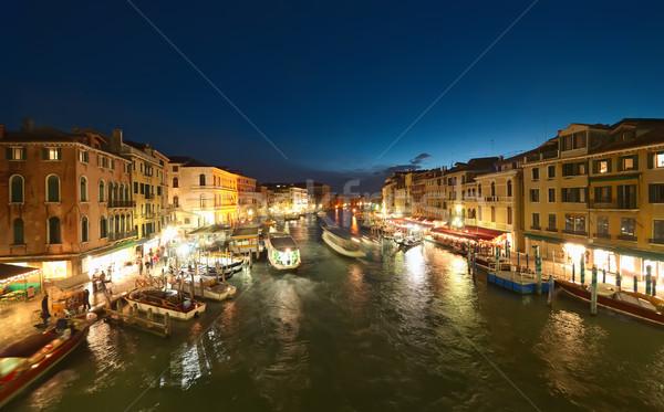 Venetië nacht kanaal Italië water zonsondergang Stockfoto © johny007pan