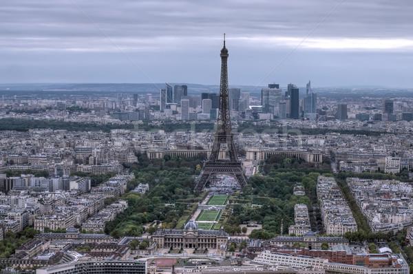 Stockfoto: Eiffeltoren · donkere · scène · luchtfoto · Parijs · gebouw