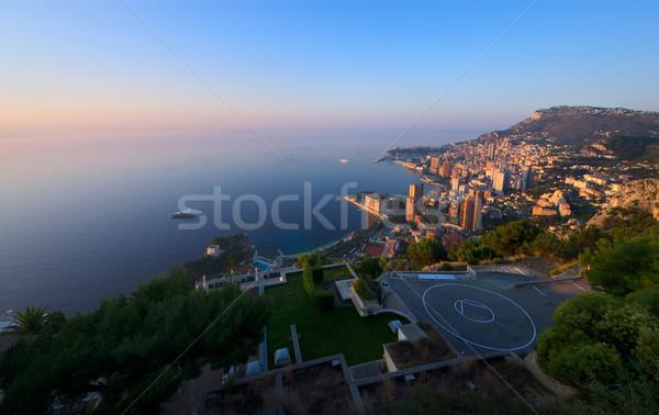 Monaco sunrise paysage mer montagne Photo stock © johny007pan