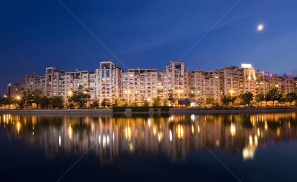 Бухарест реке зданий воды Румыния Сток-фото © johny007pan