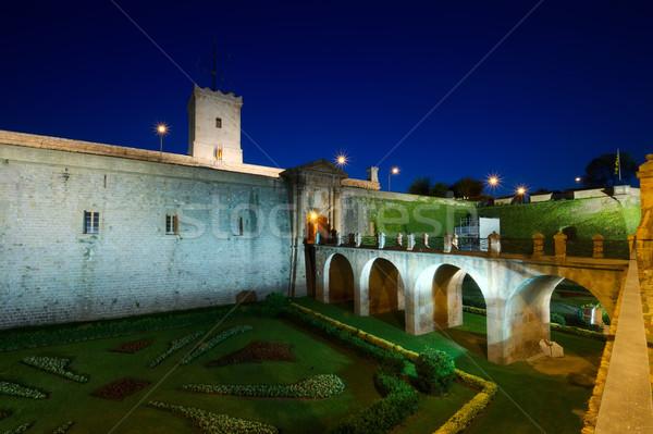 Château nuit Espagne scène de nuit Barcelone bâtiment Photo stock © johny007pan