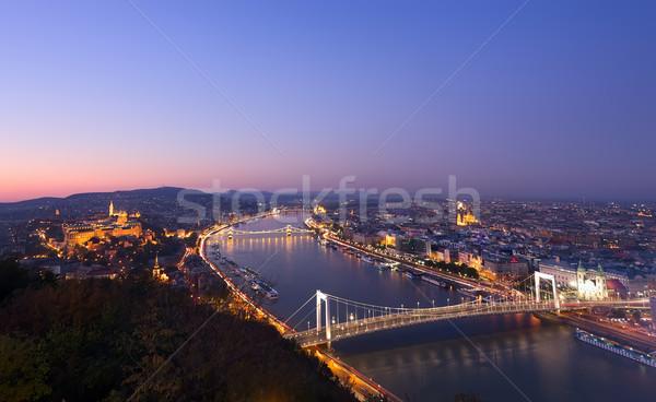 Budapest nuit Hongrie danube vue route Photo stock © johny007pan