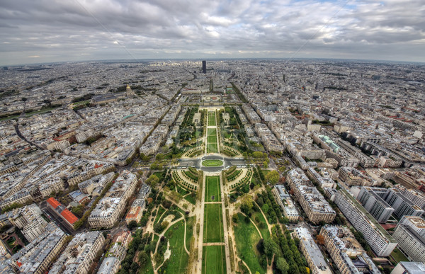 Stockfoto: Parijs · breed · antenne · Eiffeltoren · gebouw