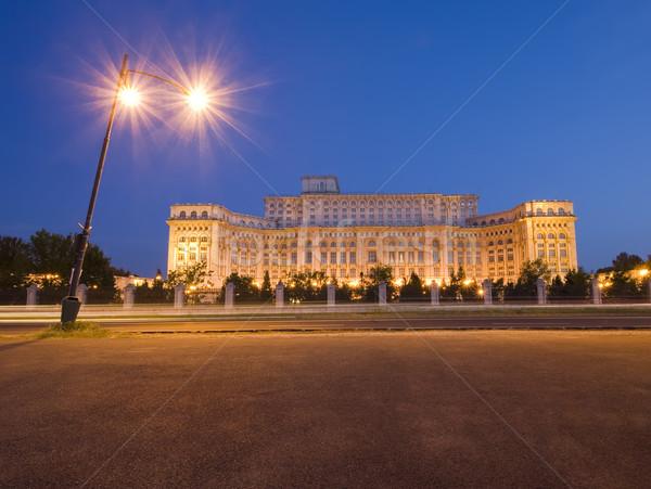 дворец парламент ночь Бухарест Румыния здании Сток-фото © johny007pan
