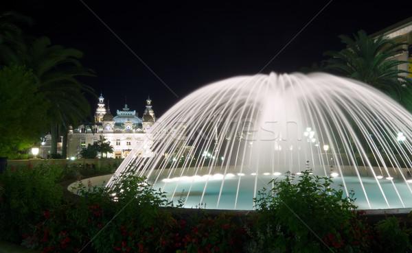 Fontaine casino Monaco lumière Voyage nuit Photo stock © johny007pan
