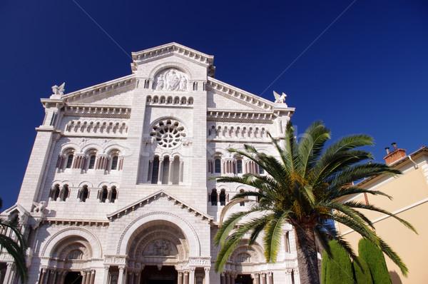 Stockfoto: Monaco · kathedraal · boom · gebouw · straat