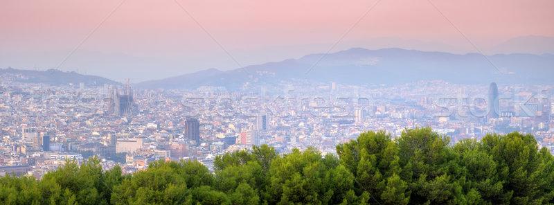 Barcelona panorama İspanya ofis gün batımı yaz Stok fotoğraf © johny007pan
