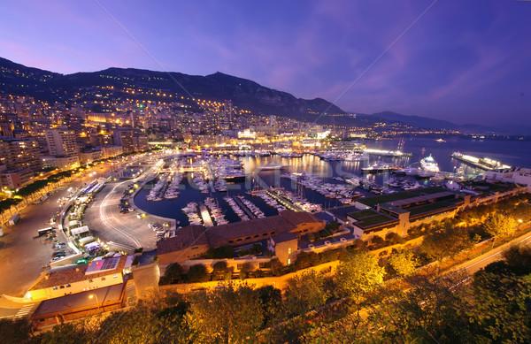 Port scène de nuit Monaco bleu nuit Skyline Photo stock © johny007pan