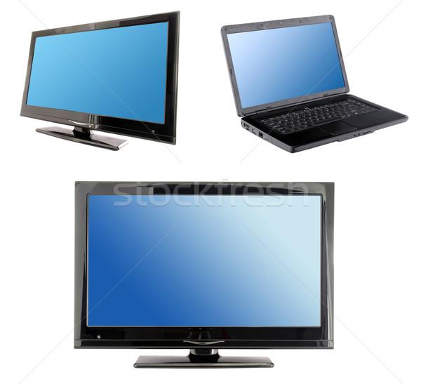 Blauw computer display ingesteld lcd tv Stockfoto © johny007pan