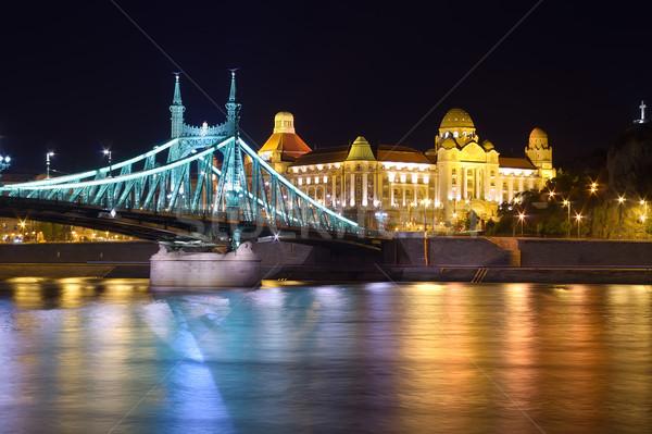 Budapest nuit pont liberté Hongrie eau Photo stock © johny007pan