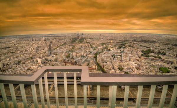 Paris sombre coucher du soleil scène or panoramique Photo stock © johny007pan