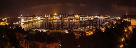Budapest nuit panorama large scène de nuit vue Photo stock © johny007pan