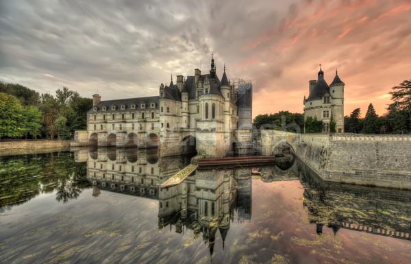 Château France large sombre scène coucher du soleil Photo stock © johny007pan
