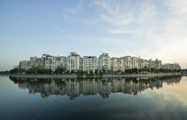 Ville eau rivière bâtiments Bucarest Roumanie Photo stock © johny007pan