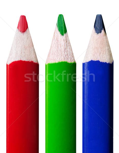 Crayons rangée isolé blanche école Photo stock © Johny87