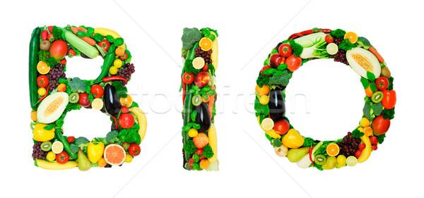 Saine alphabet bio mot légumes frais fruits Photo stock © Johny87