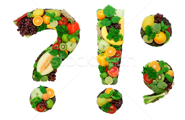 Gezonde alfabet brieven verse groenten vruchten Stockfoto © Johny87