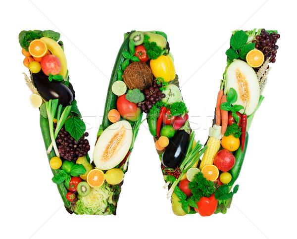 Saudável alfabeto carta legumes frescos frutas isolado Foto stock © Johny87