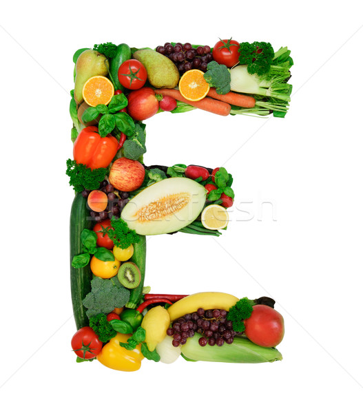 健康 アルファベット 手紙 新鮮な野菜 果物 孤立した ストックフォト © Johny87
